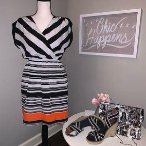 NWOT Petticoat Alley Black/Gray Striped Dress